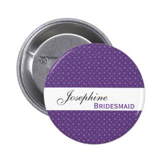 BRIDESMAID Pin Button Purple Polka Dots