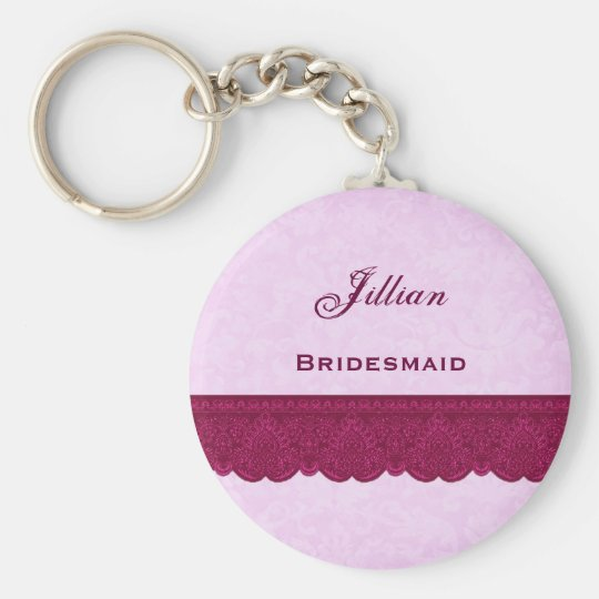 Bridesmaid Pink and Wine with Lacy Ribbon F614 Keychain
