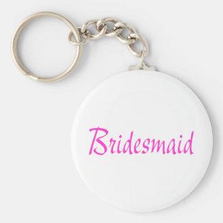 Bridesmaid Pink Basic Round Button Keychain