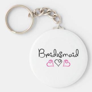 Bridesmaid Pink Black Hearts Basic Round Button Keychain