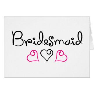 Bridesmaid Pink Black Hearts Card