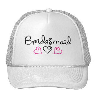 Bridesmaid Pink Black Hearts Trucker Hat