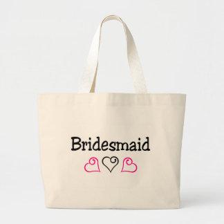 Bridesmaid Pink Black Hearts Large Tote Bag