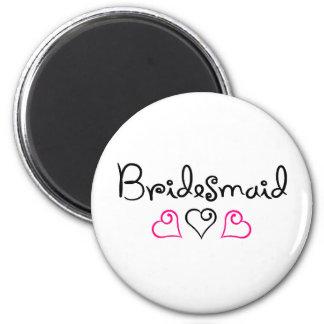 Bridesmaid Pink Black Hearts Refrigerator Magnets