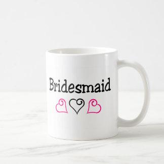 Bridesmaid Pink Black Hearts Mugs