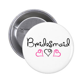 Bridesmaid Pink Black Hearts Pinback Button