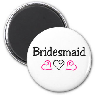 Bridesmaid Pink Black 2 Inch Round Magnet
