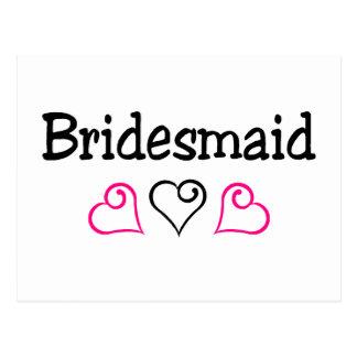 Bridesmaid Pink Black Postcard