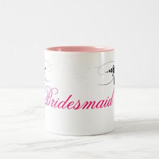 Bridesmaid pink black Two-Tone coffee mug