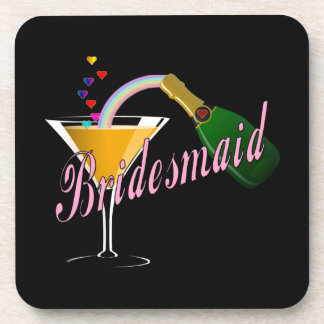 Bridesmaid Pink Champagne Toast Drink Coaster