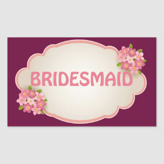 Bridesmaid (pink floral) rectangular sticker