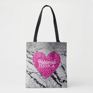 Bridesmaid Pink Glitter Heart Black White Marble Tote Bag