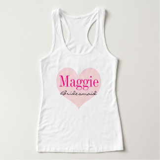 Bridesmaid Pink Heart Personalized Tank Top