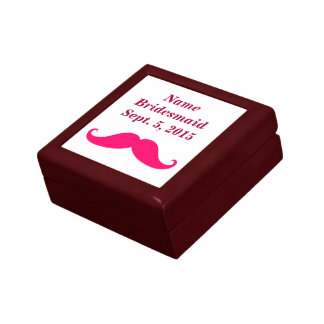 Bridesmaid Pink Mustache Keepsake Box