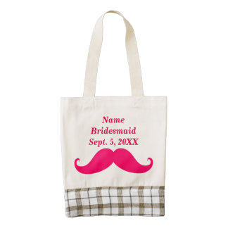 Bridesmaid Pink Mustache Tiara HEART Tote Bag