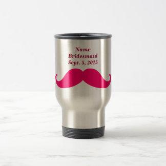 Bridesmaid Pink Mustache Travel/Commuter Mug
