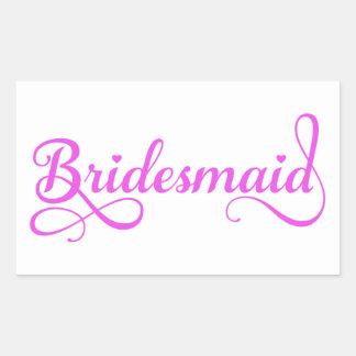 Bridesmaid, pink word art text design for t-shirt rectangular sticker