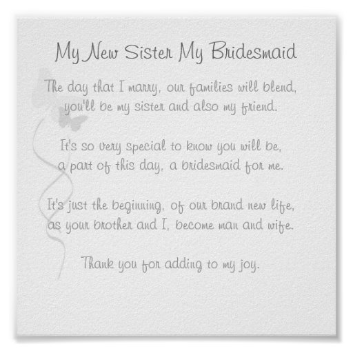 Bridesmaid Poem Print