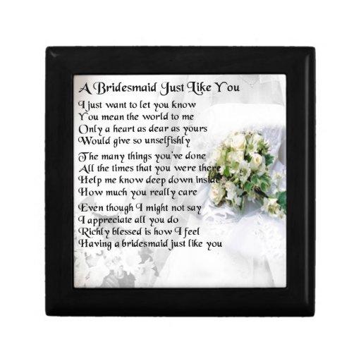 Bridesmaid Poem Wedding Bouquet Keepsake Box Zazzle