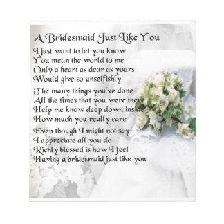 Bridesmaid Poem Wedding Bouquet Notepad