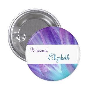BRIDESMAID Purple and Blue Flower Petals Pin