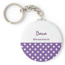 Bridesmaid Purple and White Polka Dots V18 Keychain