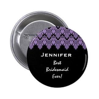 Bridesmaid Purple Black Damask Custom Name Pinback Button