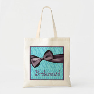 Bridesmaid Purple Bow and Blue Zebra Background Tote Bag