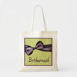 Bridesmaid Purple Bow Lime Green Damask Tote Bag