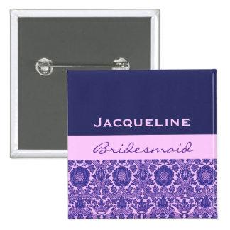 Bridesmaid Purple Damask Print V22 Pinback Button