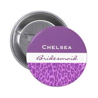 Bridesmaid Purple Leopard V09 Button