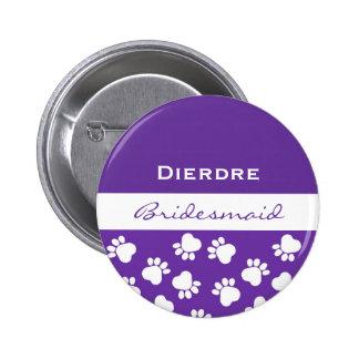 Bridesmaid Purple Paw Prints t V12 Pinback Button
