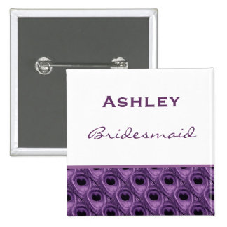 Bridesmaid Purple Peacock Custom Name Wedding Pinback Button