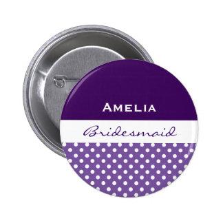 Bridesmaid Purple Polka Dots 2 Inch Round Button