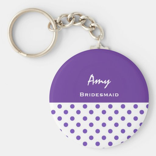 Bridesmaid Purple Polka Dots KC02 Basic Round Button Keychain
