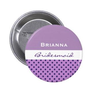 Bridesmaid Purple Polka Dots V05 2 Inch Round Button