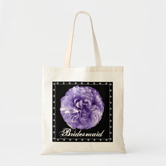 BRIDESMAID Purple Rose Lace Wedding Favor Bag