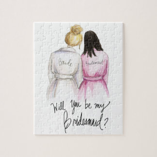 Bridesmaid? Puzzle Bl Bun Bride Long Black Bm