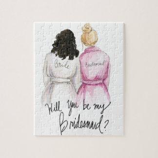 Bridesmaid? Puzzle Dark Curls Bride Blonde Bun Bm
