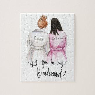 Bridesmaid? Puzzle Red Bun Bride Dk Br Long Maid