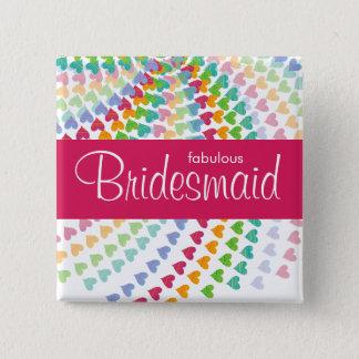 BRIDESMAID Rainbow Hearts Sprinkles Wedding Button