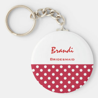 Bridesmaid Red and White Polka Dots V7 Basic Round Button Keychain