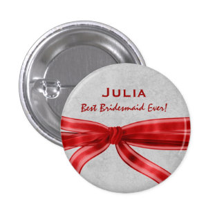 Bridesmaid Red Bow Custom Name V6 Button
