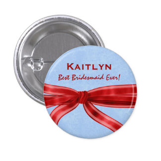 Bridesmaid Red Bow Custom Name V7 Pinback Button