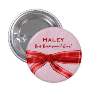 Bridesmaid Red Bow Custom Name V8 Pinback Button