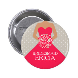 Bridesmaid red dress named wedding pin button