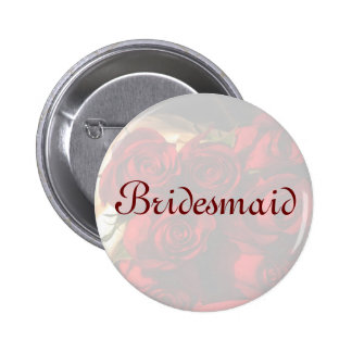 Bridesmaid - Red Rose Bouquet (1) Button