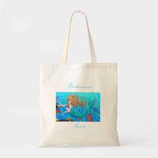Bridesmaid redheaded blue-tail mermaid tote bag