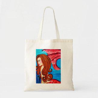 Bridesmaid redheaded red-tail mermaid tote bag