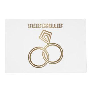 Bridesmaid Romantic Gold Rings Wedding Placemat
